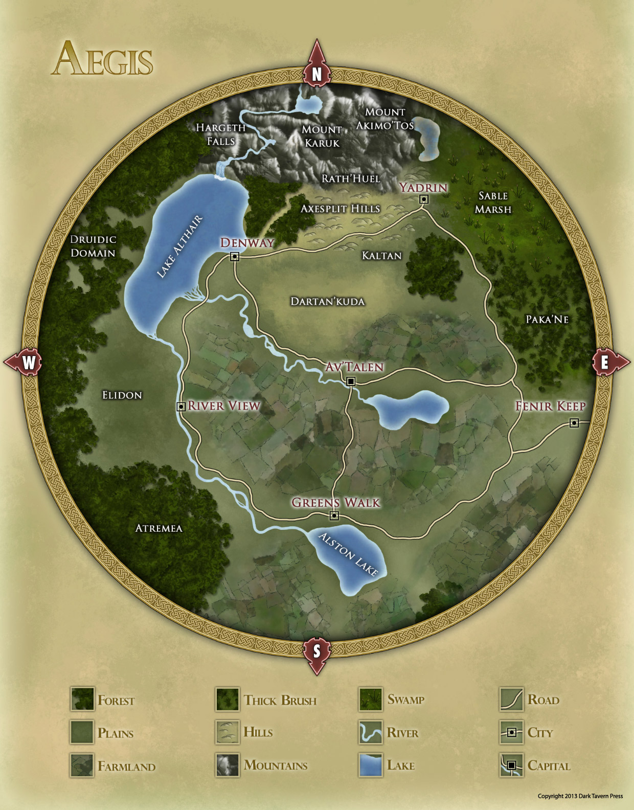 Aegis Regional Map for Shroud of the Ancients RPG