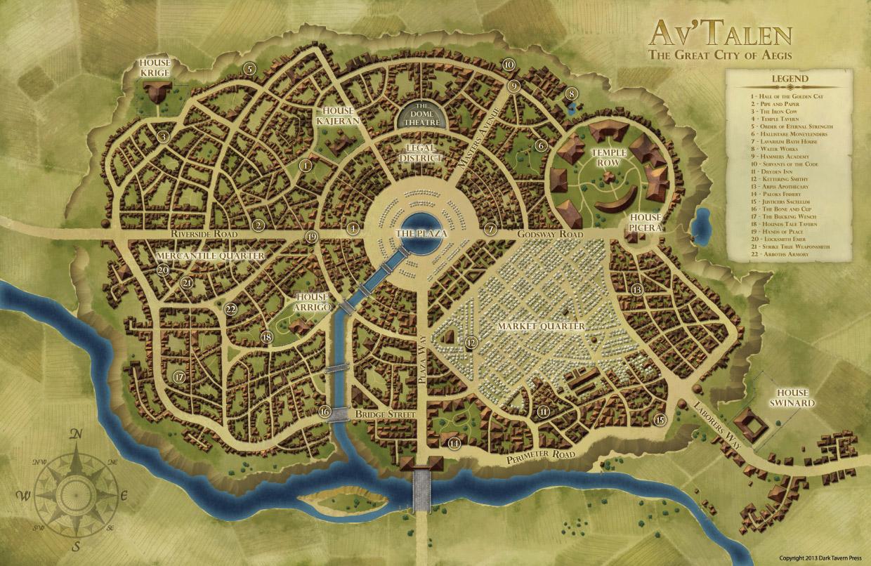 Av'Talen City Map for Shroud of the Ancients RPG