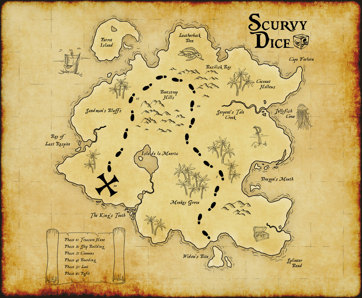 Scurvy Dice Game Map Early Draft