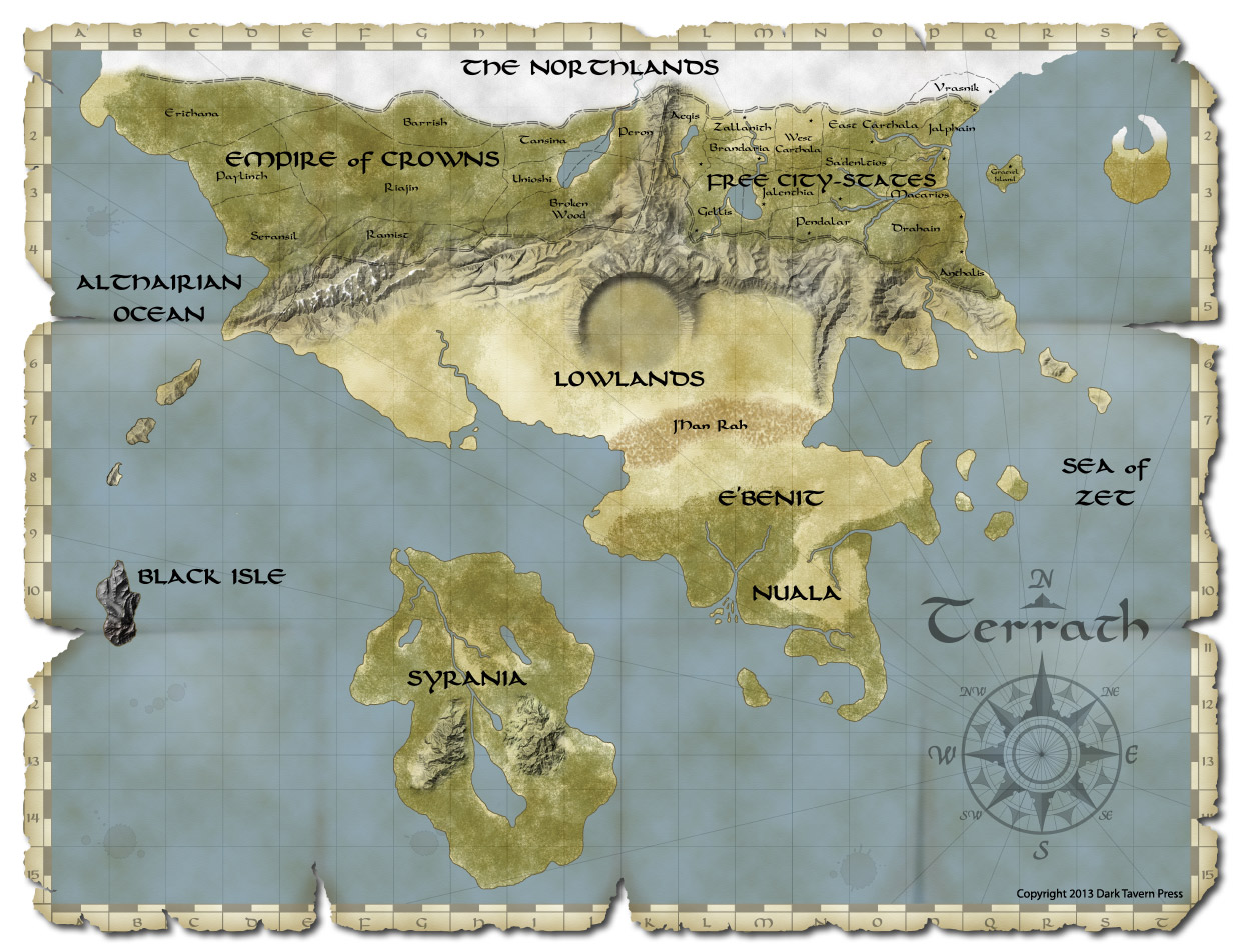 Terrath World Map fro Shroud of the Ancients RPG